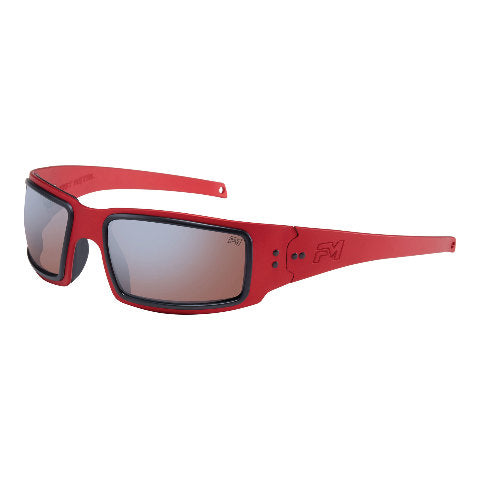 Image of Fast Metal Speed Demon Red Safety Glasses with Clear and Cooper Polarized Lens