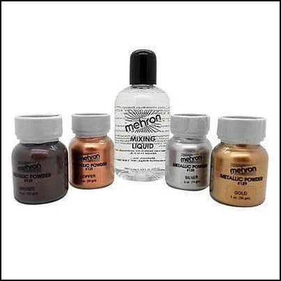 Mehron Metallic Powder & Mixing Liquid Face and Body Paint Long Lasting-SFX Make Up-Mehron-The Theatrical Make Up Store