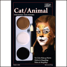 Mehron Tri Colour Makeup Palette for fancy dress and character face painting-Face Paint & Stage Makeup-Mehron-Cat-Animal-The Theatrical Make Up Store