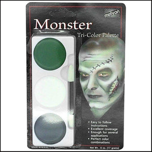 Mehron Tri Colour Makeup Palette for fancy dress and character face painting-Face Paint & Stage Makeup-Mehron-Monster-The Theatrical Make Up Store