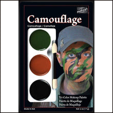 Mehron Tri Colour Makeup Palette for fancy dress and character face painting-Face Paint & Stage Makeup-Mehron-Camouflage-The Theatrical Make Up Store