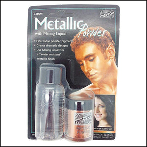 Mehron Metallic Powder & Mixing Liquid Carded Set-SFX Make Up-Mehron-Copper-The Theatrical Make Up Store