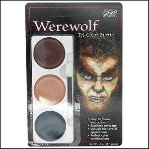 Mehron Tri Colour Makeup Palette for fancy dress and character face painting-Face Paint & Stage Makeup-Mehron-Werewolf-The Theatrical Make Up Store