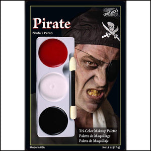 Mehron Tri Colour Makeup Palette for fancy dress and character face painting-Face Paint & Stage Makeup-Mehron-Pirate-The Theatrical Make Up Store