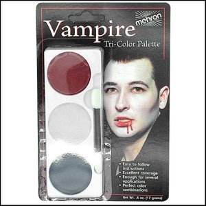 Mehron Tri Colour Makeup Palette for fancy dress and character face painting-Face Paint & Stage Makeup-Mehron-Vampire-The Theatrical Make Up Store