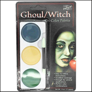 Mehron Tri Colour Makeup Palette for fancy dress and character face painting-Face Paint & Stage Makeup-Mehron-Ghoul / Witch-The Theatrical Make Up Store