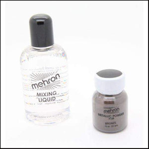 Mehron Metallic Powder & Mixing Liquid Face and Body Paint Long Lasting-SFX Make Up-Mehron-Bronze-The Theatrical Make Up Store