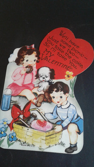 4 early 1950's paper Valentines