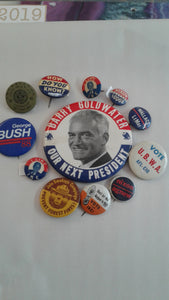 12 political and miscellaneous pinbacks