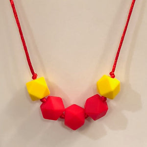 5th Down Teething Necklace - Red & Yellow