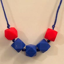 5th Down Teething Necklace - Blue & Red