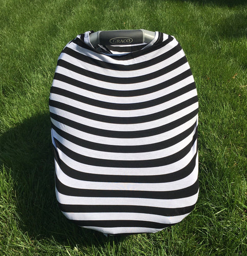 Car Seat/Nursing Cover - Black Stripe