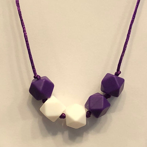5th Down Teething Necklace - Purple & White