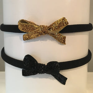 Glitter Mini Headband Set - Black & Gold