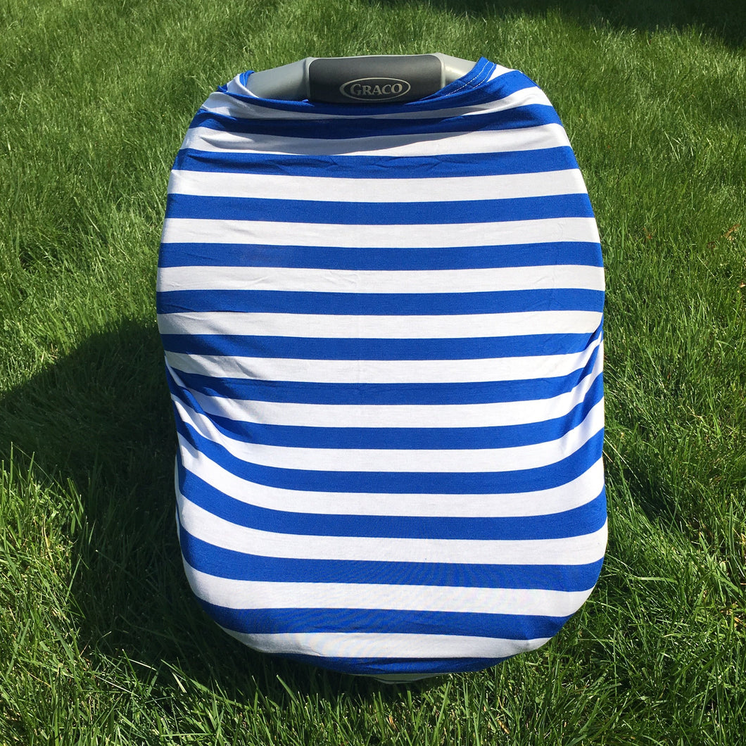 Car Seat/Nursing Cover - Blue Stripe