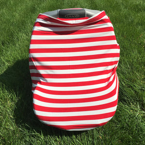 Car Seat/Nursing Cover - Red Stripe