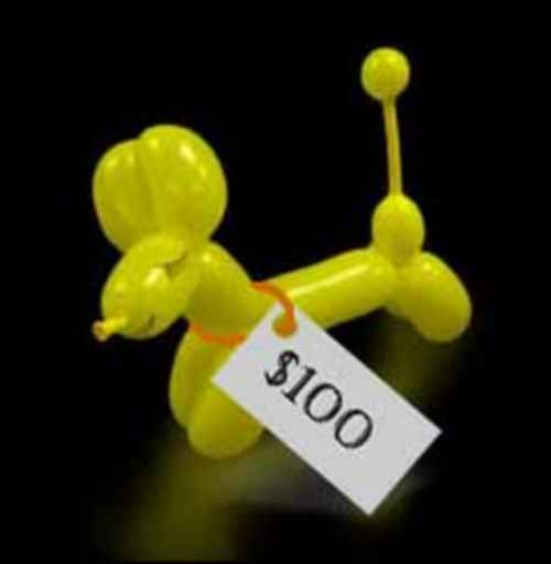 Picture of a balloon poodle with a $100 price tag.