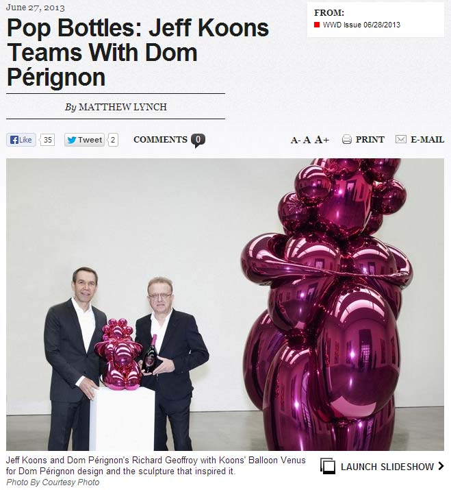 """Cover for the """"Balloon Venus"""" article in Women's Wear Daily 2013-06-28"""