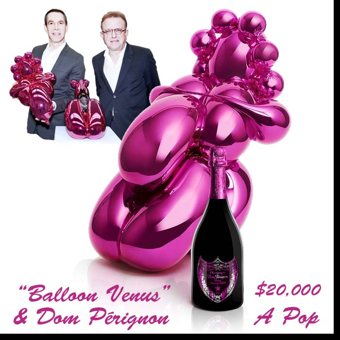 This illustration shows a copy of a copy of a balloon sculpture design with a bottle of Dom Perignon at a selling price of $20,000.