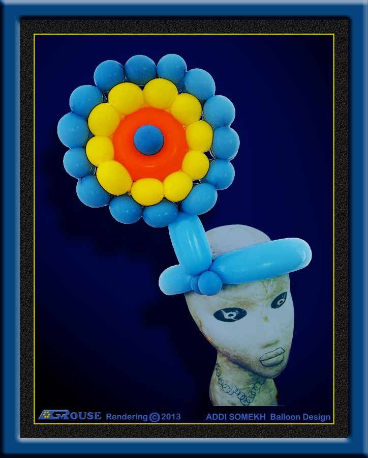 Digital painting of balloon hat flower design.