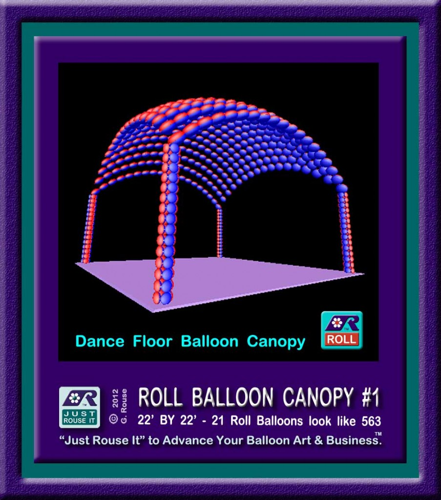Illustration of 20' canopy MadeWithBalloons™ in a new way that is much faster and easier than traditional methods.