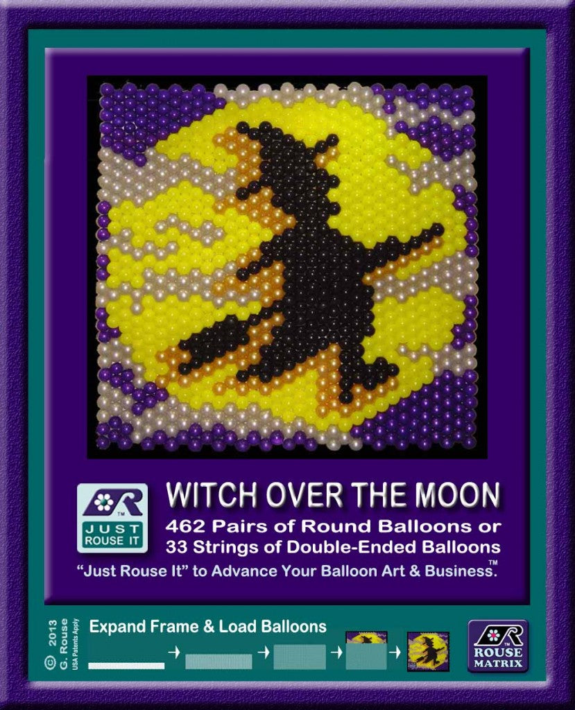 Graphic MadeWithBalloons™ and Rouse Matrix ™ Banners showing a witch flying across the moon