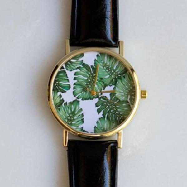 Monstera Leaf Watch (Black)