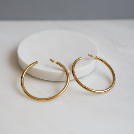 Tortoise Shell Hoop Earrings (Medium Thickness)