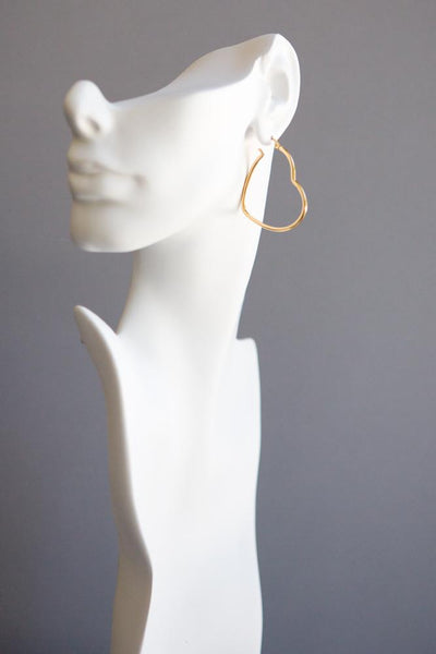 Gold Heart Shaped Hoop Earrings