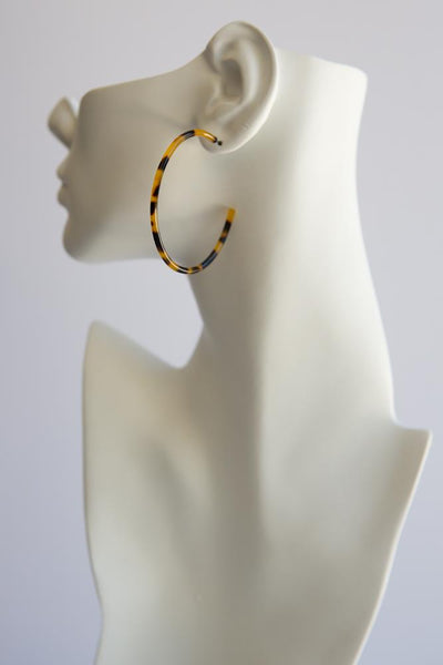Tortoise Shell Hoop Earrings (Thin) - Wynter Bloom