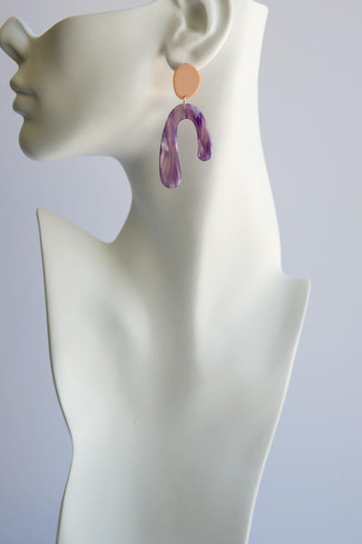 Abstract Arch Earrings (Purple)