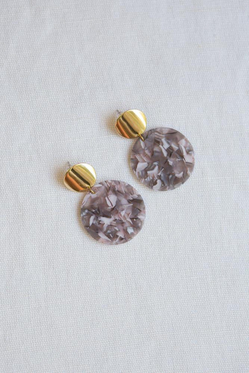 Purple Grey Acrylic Disc Statement Earrings