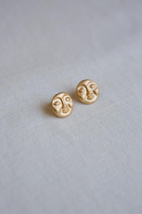Matte Gold Abstract Sleeping Face Earrings