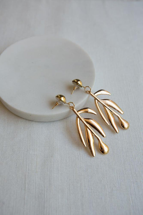 Tropical Leaf Drop Earrings