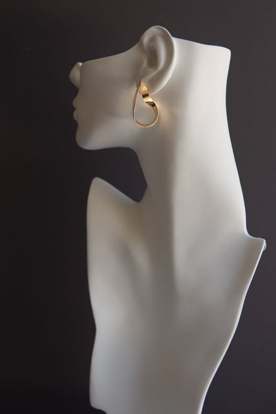 Gold Flat Curl Statement Earring