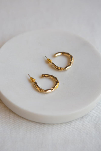 gold hammered hoop earrings