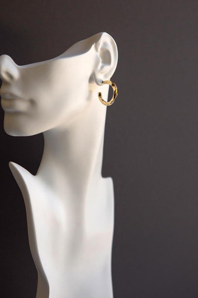 Gold Hammered Hoop Earrings - Wynter Bloom