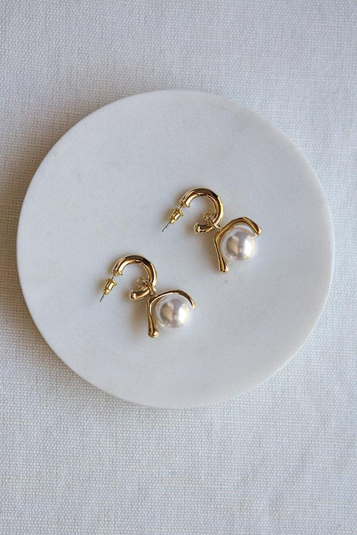 Pearl Ball and Hoop Earrings