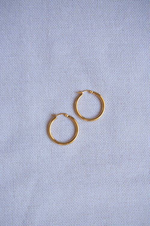 Classic Small Latch Back Gold Hoop Earrings