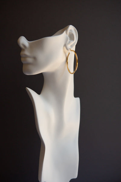 Classic Large Latch Back Gold Hoop Earrings