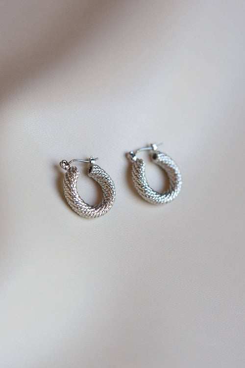 Braided Twist Hoop Earrings (Silver) - Wynter Bloom