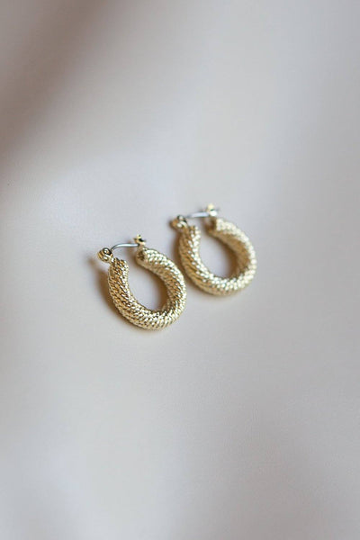 Braided Twist Hoop Earrings (Gold) - Wynter Bloom
