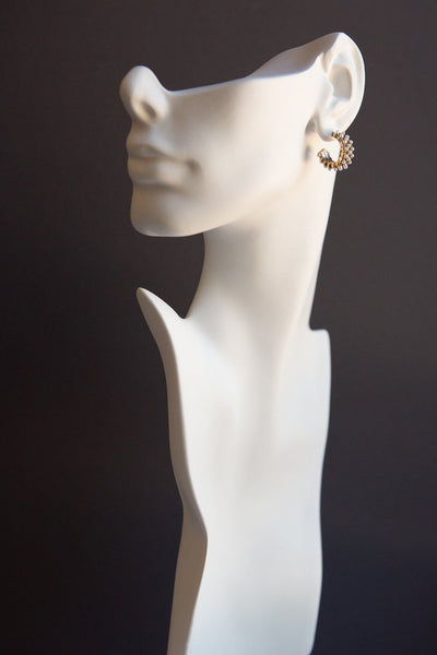 Antique Gold Hoops with Pearl Accents - Wynter Bloom