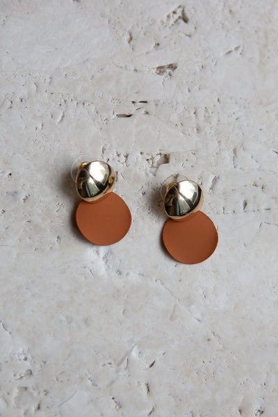 Brown and Gold Disc Earrings - Wynter Bloom