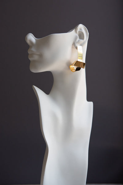 Gold Tone Elongated Curl Earring - Wynter Bloom
