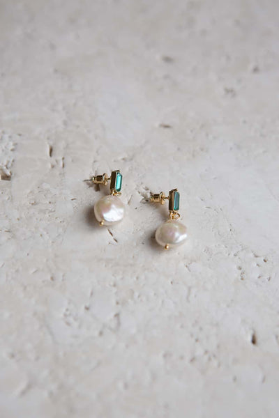 Emerald Green Crystal Baroque Pearl Drop Earrings - Wynter Bloom