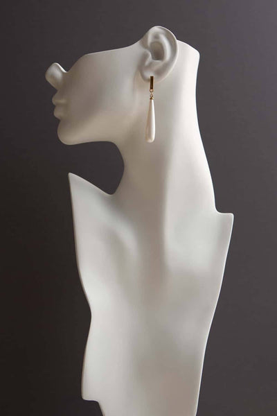Elongated Pearl Bar Dangle Drop Earrings - Wynter Bloom