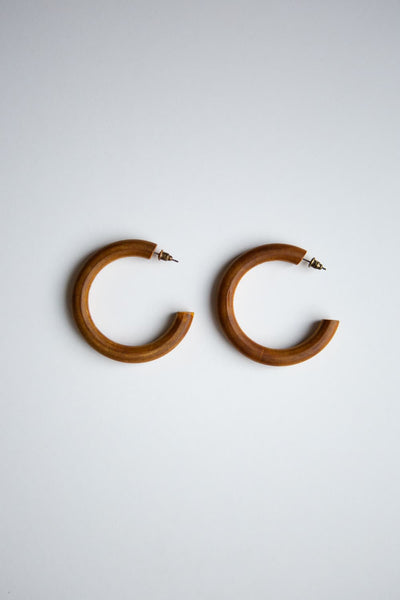 Brown Stained Wood Hoop Earrings - Wynter Bloom