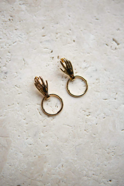 Hand Hoop Stud Earrings - Wynter Bloom