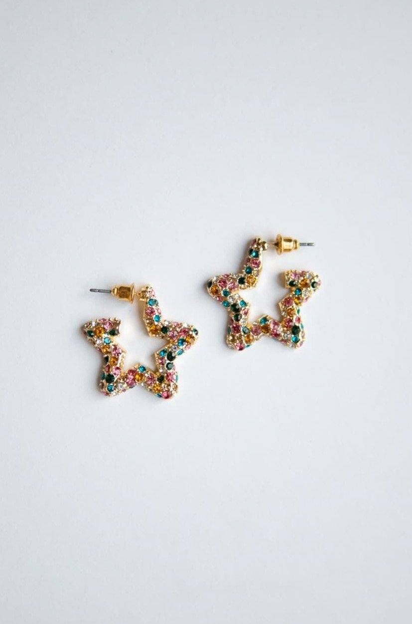 Rainbow Crystal Star Hoop Earrings - Wynter Bloom